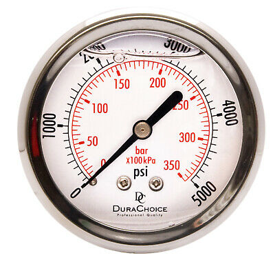 "2-1/2"" Pressure Gauges - Stainless Steel Case, 1/4"" NPT Ctr. Back Mnt. 0-5000PSI"
