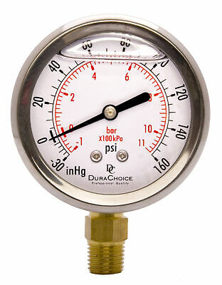 "2-1/2"" Vacuum Pressure Gauge - S.S. Case, 1/4""NPT, Lower Mnt. -30HG/160PSI"