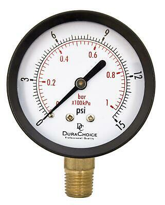 "2-1/2"" Utility Pressure Gauge - Blk.Steel 1/4"" NPT Lower Mnt. 0-15PSI"