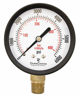"2-1/2"" Utility Pressure Gauge - Blk.Steel 1/4"" NPT Lower Mnt 0-6000PSI"