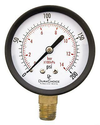 "2-1/2"" Utility Pressure Gauge - Blk.Steel 1/4"" NPT Lower Mnt. 0-200PSI"
