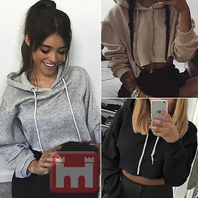 Women Hoodie Sweatshirt Crop Top Sweater Long Sleeve Sport Pullover Jumper Tops