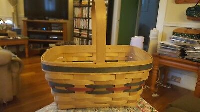 Longaberger basket good condition red green accent weaves 1991