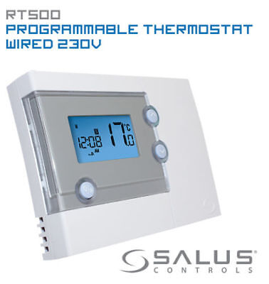 Salus RT500 Digital 7 Day Prog Thermostat. NOT compatible with RT500RF receiver!