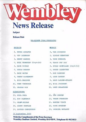 TEAMSHEET / Press Release 1980 England v Norway at Wembley