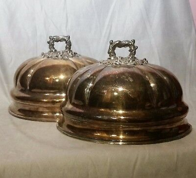 Beautiful Antique SILVER PLATE Half Meat Dome Pair Wall Planters
