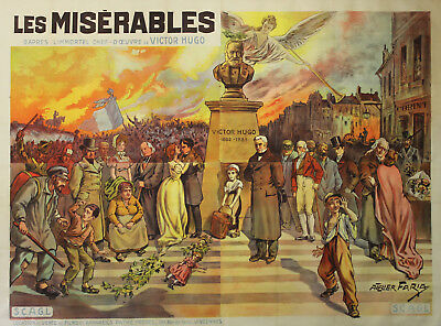 """LES MISERABLES"" Affiche originale entoilée 1912 (Albert CAPELLANI /Victor HUGO)"