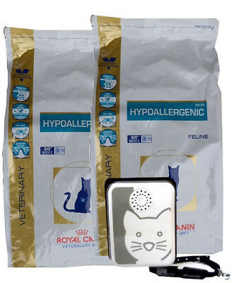 2x4,5kg Royal Canin Hypoallergenic DR 25 Veterinary Diet + Tchibo Türsignal