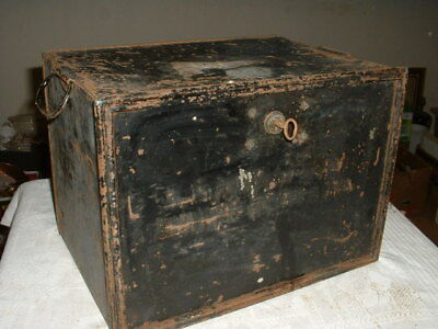 Antique Metal Lock Box, Deed Box, Document Safe Complete With Key