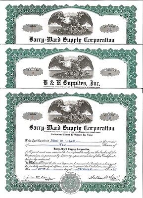 Barry-Ward Supply corporation > 1950's Pennsylvania old stock certificate share