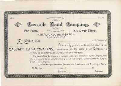 Cascade Land Company > 1890's New Hampshire old stock certificate share