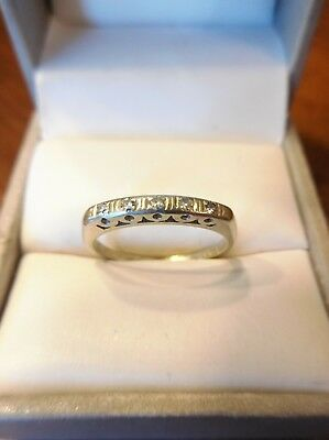 Vintage Art Deco 14K White Gold Diamond Anniversary Wedding Band Ring (551)