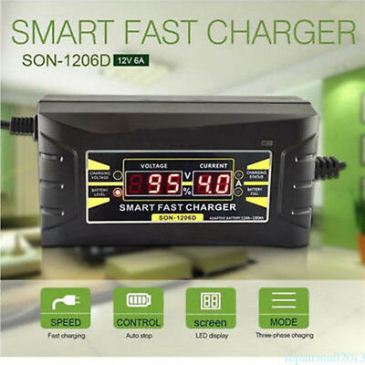 12V 6A Fast Smart Lead-acid/GEL Battery Charger Car Motorcycle LCD Display EU/US