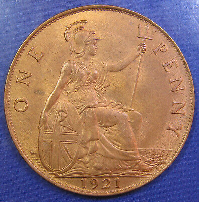 1921 Obv 3 1d George V bronze Penny in a gorgeous UNC