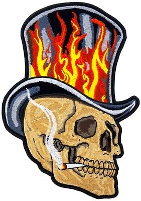 Smoking Skull Flaming Top Hat Mc Outlaw Motorcycle Biker Back Patch
