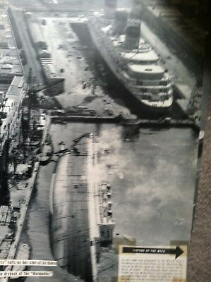 "SS NORMANDIE ST NAZAIRE PIER w SS PARIS FRENCH LINE ARTICLE 10x14"" MAGAZINE WWII"