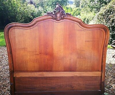 Double 4ft6ins ANTIQUE FRENCH WALNUT  Louis XV Style Headboard
