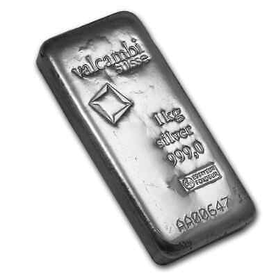 1 kilo Silver Bar - Valcambi (Cast, w/Assay) - SKU #86730