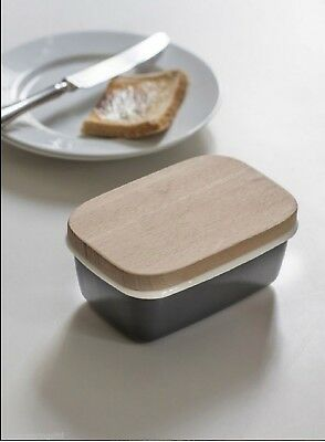 Garden Trading Enamel Butter Dish with Beech Lid - Charcoal