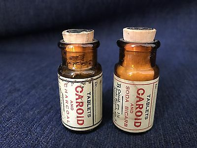 Vintage Carter, Cummings & Co. Bottles Tablets Caroid And Charcoal/ Soda Bicarb