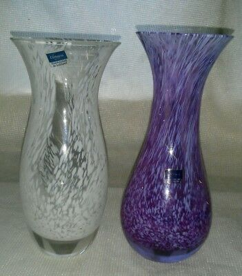 2 X Caithness Glass Swirl Vases with Labels