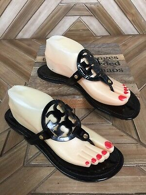 Tory Burch Women's Patent Leather Black Miller Sandals Size 9M  S1058