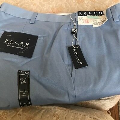 NWT Polo Ralph Lauren Classic Chino Dress Pants Flat Front Blue Size  42x31
