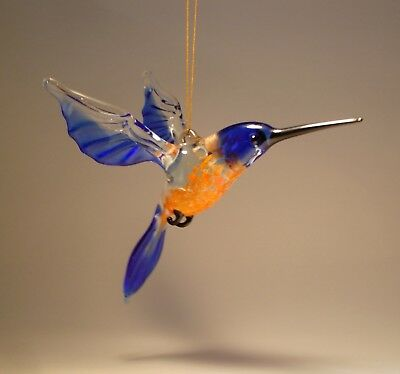 Blown Glass Figurine Bird Hanging Blue and Red HUMMINGBIRD Ornament