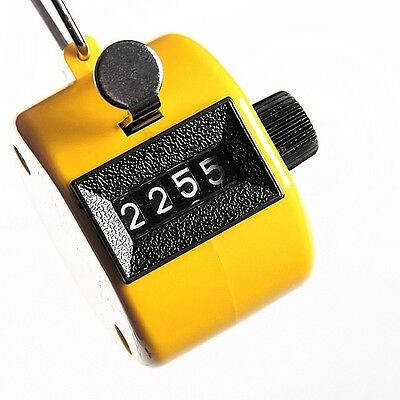Hot Digital Hand Held Tally Clicker Counter 4Digit Number Clicker Golf Chrome T9