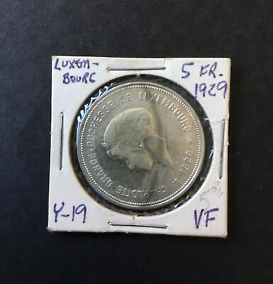 Luxembourg 5 Francs Silver Coin Grand-Duchess Charlotte 1929 NC Y-19