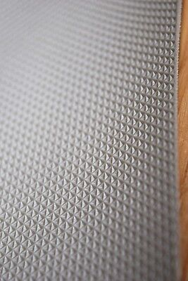 SILVER GREY TRELLIS STRETCH STRONG VINYL MOTORCYCLE SEAT COVER 1 MT x 70 CM /
