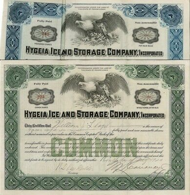 Hygeia Ice and Storage Company, Inc > 1920s Pennsylvania old stock certificate