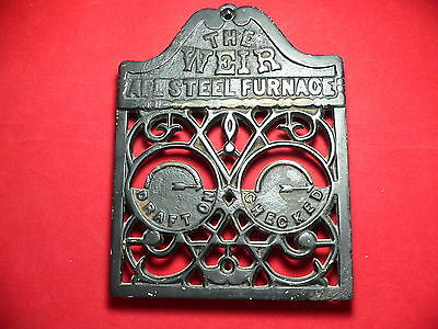 Antique Cast Iron Vent Cover From 'the Weir All Steel Furnace'