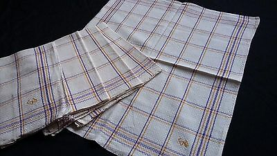 Set of 5x old checkered metis kitchen Towels or rustic napkins  yellow / lilac