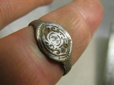MEDIEVAL BRONZE  RING with ORNAMENT! 100% WEARABLE ARTIFACT ! #6631