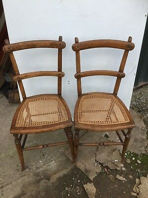2 Vintage Country Chairs Cane Beregere Seats 11/9/V