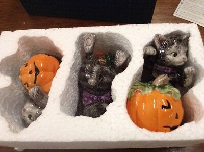 Fitz & Floyd Halloween Kitty Tumblers Figurines - Set of Three