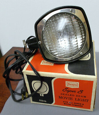 Sears Super 8 Sealed Beam Movie Light with Hardware - WORKS!