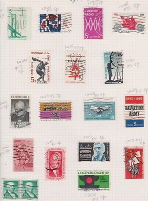 (K44-6) 1964-5 USA mix of 18 stamps valued to 25c (F)