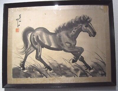 TWO Vintage Antique Asian Chinese Horse Ink Painting on Silk Original Frames