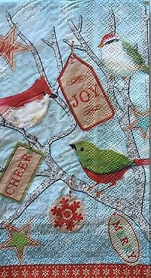 2 Two Paper Napkins Decoupage Christmas Birdie Tag Branches Birds Guest Towels