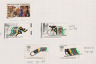 (K44-17) 1972 USA mix of 5 stamps valued to 11c (Q)