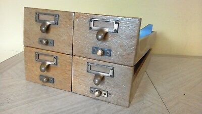 Vintage Wooden Drawer Card Catalog Library Filing Cabinet Index Drawer EACHES