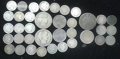 Old Silver Coin Grab Bag - Barbers, Sitting Lib's & Nickel three cent - 37 coins