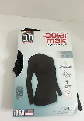 Polarmax Core 3.0 Long Sleeve Crew Womens  Black Small Quick Dry Acclimate Fresh