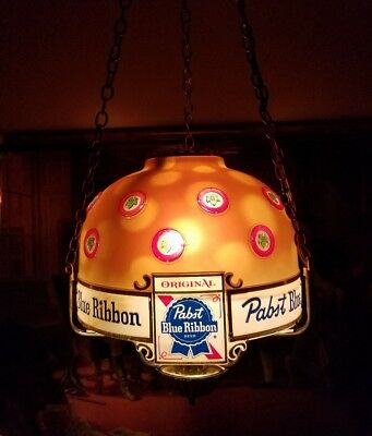 Pabst Blue Ribbon beer hanging lamp/chandelier motion light RARE!