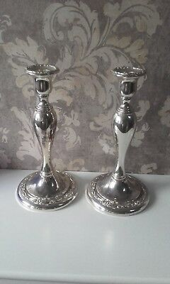 Pair Oneida Silver Plate Candlesticks Candle Holders.