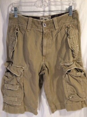 AMERICAN EAGLE Men's Size 28 100% Cotton Casual Flat Tan Cargo Shorts Distressed