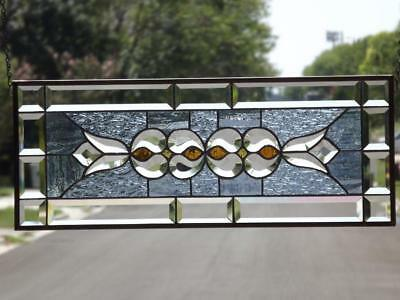 """Simpley Elegant -Beveled Stained Glass Window Panel 26 1/2"""" x101/2""""( 67x27Cm)"""