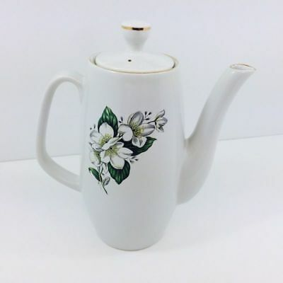 Vintage Sylvac Coffee Pot With White Alpine Rose Collectable